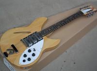 Couleur en bois naturel Couleur 12 cordes Guitare électrique semi-creuse avec 3 micros, touche de rose-pbood, rocommande R, peut être personnalisé en tant que demande
