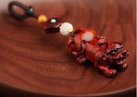 الأسطورية البرية تميمة الحيوان سلسلة مفتاح الإبداعي خشب الصندل الأحمر نحت Pixiu كانت السلسلة الرئيسية المنسوجة يدويا chainkey قلادة