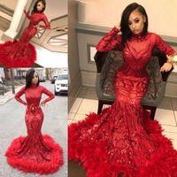 Longues robes de bal étincelantes avec plumes rouges Sequin 2020 Sexy Col Haute Col à manches longues Mermaid African Black Fille Noir Robe De Soirée Soirée