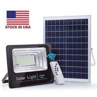 100W solare esterna del proiettore impermeabile via lampada con luce di controllo remoto del sensore luci di inondazione Gift Package