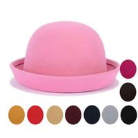 شعر جديد ليتل التجزئة الفتيات فيدورا قبعة قبة سقف الأطفال اللباس القبعات الاطفال قبعات الصوف التلبيد الرامي قبعة