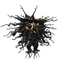 Handgemachte geblasenem Glas Kronleuchter Beleuchtung Italien Kunst-Dekor-Schwarz-Leuchter-Beleuchtung LED-Lampen 40 Zoll moderne Kronleuchter Pendelleuchten-L
