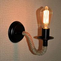 2019 Retro Industrie Lampe Vintage Hanfseil LED E27 Edison Wandleuchte Loft Wandleuchte Innenbeleuchtung Treppen Wohnzimmer Lampen