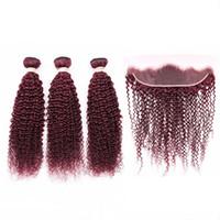 #99J Вино красное Индийский Девы человеческих волос кудрявый парик с прямым бордовый красный ткать пучки с 13x4 кружева фронтальная закрытие