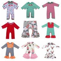 Los niños del diseñador ropa del bebé del mameluco Bodies Ins hoja animal del mono de manga larga Body Floral Romper los puentes delfines flor pijamas C263