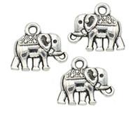 200pcs argento antico placcato animali elefante pendenti di fascini per il braccialetto europeo creazione di gioielli fai da te fatti a mano 12x14mm