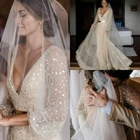 2020 Backless Long Sleeve Sheath Wedding Dresses V Neck Bead...