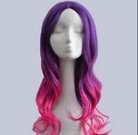 WIG envío gratis New Anime Womens Lolita estilo largo pelo ondulado Cosplay Party Cool Girl peluca llena
