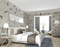 Moderna annata disegnata a mano libellula intera casa foto camera da letto 3D Wallpaper Wallpaper murale sfondo Decor