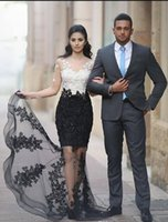 Modest White and Black Lace Mermaid Evening Dresses Beads Cr...