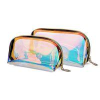 Laser Deisgn Makeup Bags Lridescent Viagens Cosméticos À Prova D 'Água Portael Bolsa com Ouro Zipper para Mulheres Meninas