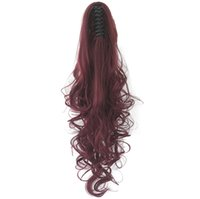 Long Red Gray Curly Clip In Hair Piece Extensions Pony Tail ...