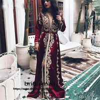 Burgundy Moroccan Kaftan Evening Dresses Long Sleeves Lace A...