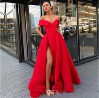 Seksi Backless Saten Uzun Balo Elbise Cepler Ile Artı Boyutu Robe De Soiree Kat Uzunluk Bölünmüş Elbise Akşam Giymek Ucuz Vestido de Festa
