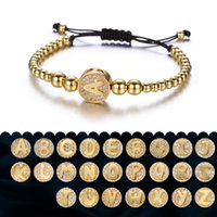 Woman Man Letter(A~Z) Gold Bead Lucky Black String Rope Brac...