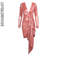 LoveLemonade Pink Deep V-Neck Nastro pieghettato Decorazione Sparkling Fabric Bldycon Going Out Vestito riflettente LM81639