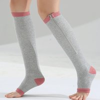 Носки Hosiery Hosiery 2021 Женщины Молния Сжатие Zip Нога Поддержка Knee Sox Открытый Носок Носок Зимний Теплый Нейлон 35см Сплошной стандарт