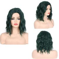 Synthetische kurze wellenförmige Perücke Natürliche Haaransatz Hitzebeständige Faser Verschiedene Farben Mode Perücken 160g / stück 13 Zoll