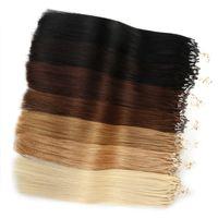 Micro Loop Links Destensione dei capelli Nano Anelli 100% Remy Human Hair 100s 50g Blonde Blonde # 613 Silky Dritto Black Brwon 14 a 24inch