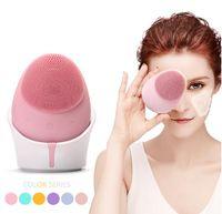 Escova de limpeza facial elétrica Escova Sonic Vibração Face de Silicone Lavagem Massagem Máquina De Limpeza Profunda Carregamento Sem Fio
