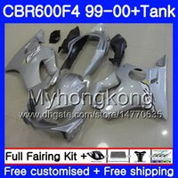 Bodys Gloss Silver Hot + Tank för Honda CBR 600 F4 FS CBR 600F4 CBR600F4 99 00 287HM.29 CBR600FS CBR600 F 4 CBR600 F4 1999 2000 Fairing Kit