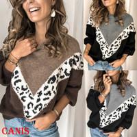 Damen Pullover Winter warme Leopard Patchwork O-Ansatz Strickjacke-Damen Langarm Strickpullis Pullover Frauenoberteile Pullover