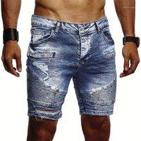 Pantolon Kovboy Delik Katlanmış Şort Tasarımcı Katı Renk İnce Jean pantolon Erkek Moda ile Fermuar Jeans