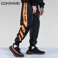 GONTHWID Çizgili Patchwork Harem Pantolon 2019 Hip Hop Baskılı Renk Blok Casual Koşucular Sweatpants Pantolon Erkek Streetwear LY191203 Mens
