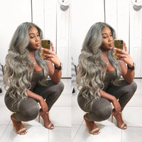 Grey Lace Front Human Hair Wigs Brazilian Virgin Body Wave H...