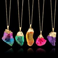 Collane di quarzo di cristallo irregolare per le donne Guarigione pietra preziosa Druzy Ciondolo in pietra naturale arcobaleno Catene d'oro Regalo di gioielli di moda