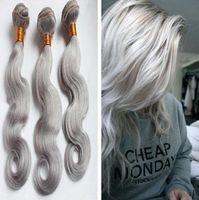 9A Grau Bundle-Angebote Silbergrau Malaysian Haar Günstige Silbergrau Virgin Haar-Verlängerungen 3pcs Weaves
