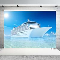 Buque Ocean Blue Sky Fondos fotográficos de vinilo encargo de telón de fondo para la boda del partido de los niños Nueva Photophone Estudio