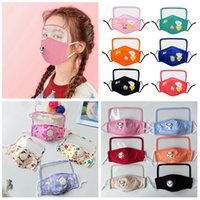 2 in 1 cartoon eye mask with breath valve clear mouth facial cover can be put filters earloop outdoor kids children protective masks FFA4165