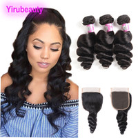 Peruvian Human Hair Extensions 3 Bundles With 4X4 Lace Closu...