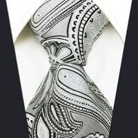 S7 بيزلي الأزهار الأبيض فاتح رمادي رمادي فضي أسود إضافي طويل الحجم أزياء رجالي ربطة العنق التعادل 100٪ الحرير