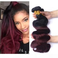 Ombre 1B 99J Body Wave Colored Hair 3 Bundles Brazilian Ombr...