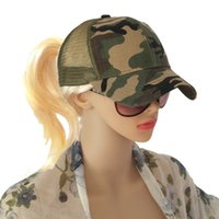 New cap ladies tie ponytail camouflage baseball cap outdoor ...