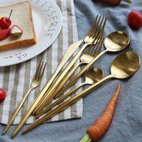 Cuchillo de oro de acero inoxidable vajilla de comidas Cuchara Tenedor Palillos cuchara de café cubiertos exquisito occidental Cena Postre Cubiertos VT1000