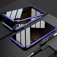 المغناطيسية الامتزاز مكافحة يبصر 360 خفف من الزجاج كامل القضية للحصول على اي فون X 11 برو ماكس XR XS ماكس 8 زائد 7 6 6S زائد
