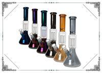 Новый красочный 12-дюймовый химический стакан стеклянного бонг с 6 оружием дерева PErc затяжками Percolator Lon водопроводом для курения стекла кальян бонг бесплатной доставки