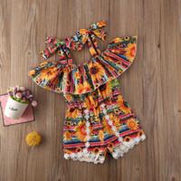 Yaz Çocuklar Bebek Kız Bez Çiçek Ayçiçeği Bohemia Boho Sling Bana Kolsuz Tulum Romper Giysi Kıyafetler Tulum