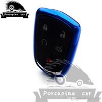 Car-Styling intelligente TPU Fall Fernschlüsselkasten 5 Bottons Keyfob Schlüsselring Auto-Schlüssel-Halter für Cadillac ATS XT5 CT6 Zubehör