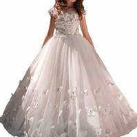 Yeni Bohemian Dantel Çiçek Kız 'Elbiseler Kat Uzunluk Küçük Kız Düğün Elbiseleri Bow Kanat