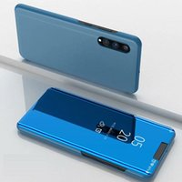 Mirror Plating View Window Case Stand Flip Leather Cover For Samsung Galaxy Note 10 Note 10 + A10 A20 A30 A40 A50 A60 A70 M10 M20 50PCS