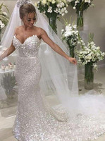 Sparkle White Sequin Strapless Sexy Mermaid Trouwjurken 2020 Luxe Plus Size Illusion Trouwjurk Bruidsjurken Vestidos de Novia