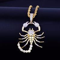 Tier Skorpion Hip Hop Anhänger mit 18 Karat Gelbgold Halskette Kubikzircon Herren Halskette Schmuck für Geschenk