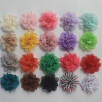 60pcs de mousseline de soie Multilayer Fleurs pour les filles cheveux Accessories.Chiffon Blossom Bandeau Flowers.Hair Bows Fleurs 22 couleurs au choix