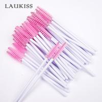 50pcs / pack descartável Cílios Brushes Mascara Wands Aplicador Wand Brushes pestana Comb spoolers Makeup Tools LAUKISS