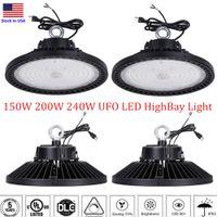 DLC 1-10V Dimmable UFO LED High Bay Light 100W 150W 200W 240W Светодиодные светодиодные светильники IP65 Mining HighBay Lamp Street Work Shop