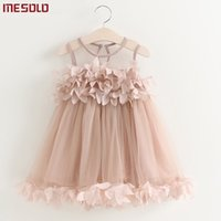 Girls Dress 2019 New Summer Mesh Girls Clothes Pink Applique...